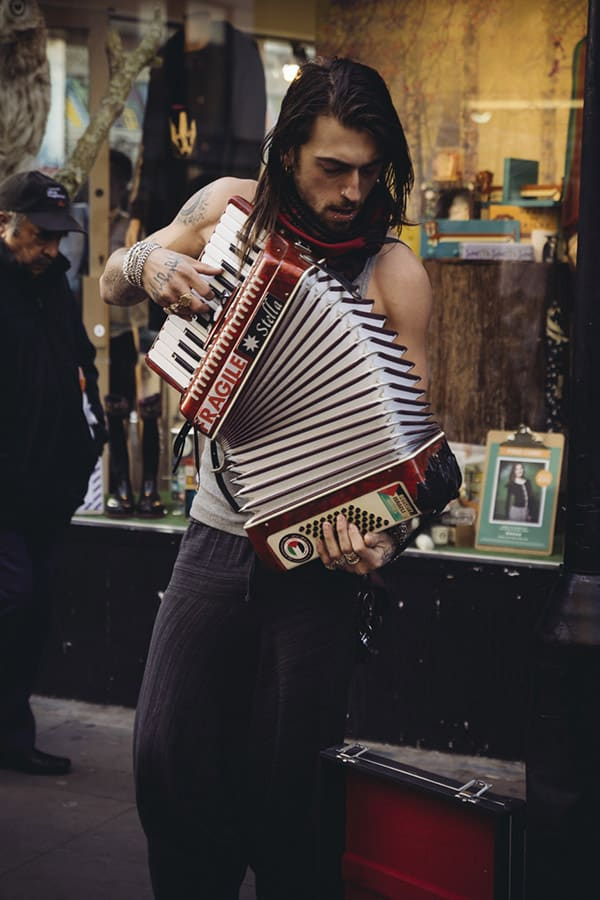 London photography - Brick Lane musician